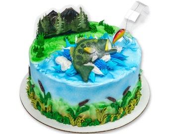 Fishing Cake Topper/ Fisherman's Birthday Cake Topper/ Fishing Cake Kit/ Bass Fish Cake Kit/ Fishing Cake Kit Topper