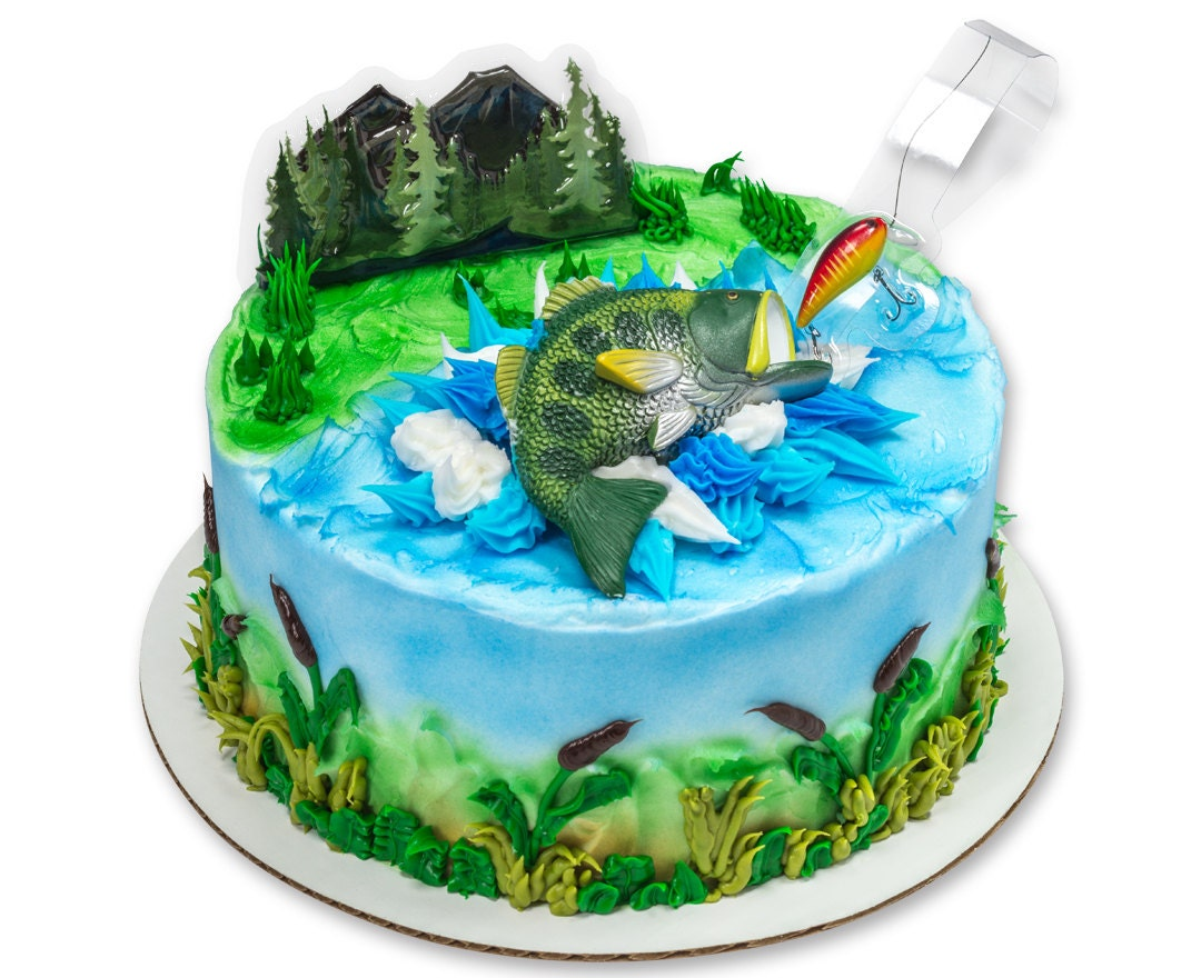 Fishing cake topper fisherman 39 s birthday cake topper for Fishing cake ideas