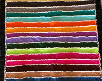 Soft and Colorful 100% Cotton Strip Rag Quilt