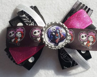 Jack N' Sally hair Bow (bow 2) Nightmare Before Christmas, party favor, RTS