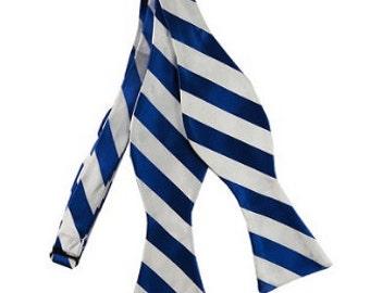 Blue & White Striped Bow Tie