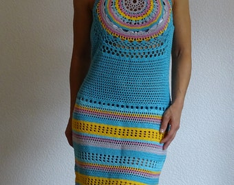 crochet dress, lace dress, festival dress, boho dress, summer dress, knit dress, cotton dress, african dress, beach dress, ready to ship