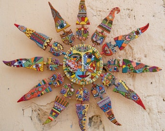 "Ceramic wall clock, wall clock, ceramic panel, ceramics and pottery, ceramic cat, ceramic sun ""Solar cats"""