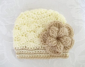 Cream baby girl hat, newborn girl outfit, baby girl hat, newborn girl hat, hospital hat,  baby girl outfit, baby girl beanie
