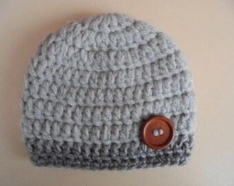 Crochet baby hat, baby boy hat, gray baby hat, newborn boy hat, boy hospital hat, crochet newborn hat, newborn crochet hat, baby boy beanie