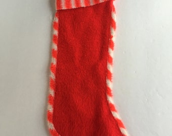 Vintage Fuzzy Red and White Candy Cane Striped Christmas Stocking