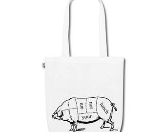 Organic Cotton Earth Positive Tote Shoulder Bag With Vintage Pig Butcher Diagram Vegan Vegetarian 'I Am Not Your Lunch' Design. White.