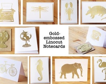 Gold-Embossed Linocut Notecards (Bumper Pack of 10)