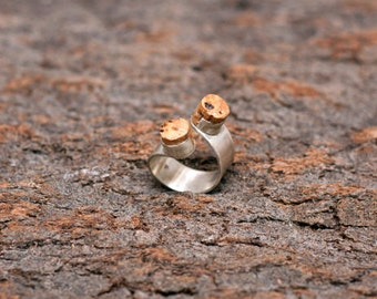 "Silver and Cork Ring ""Chit-Chat"" - Handmade Jewelry - FREE SHIPPING"