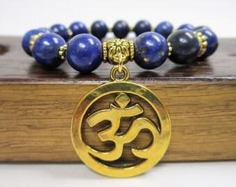 OM Charm Bracele Healing Gemstone OM Chakra Bracelet Hindu OM Bracelet Aum Bracelet, Meditation Yoga Om Bracelet, Gemstone Om Charm Bracelet