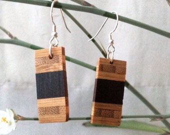 Dangling earrings |Upcycled wooden earrings | upcycled roasted maple and  bamboo, sterling silver ties | Original jewelry by RecupRetro