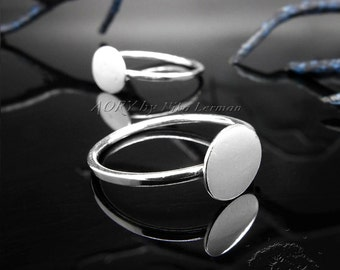 1pcs 925 Sterling Silver Ring Blank for 8mm Cabochon, Made in Israel, White Silver Color, US Size 8, 2912ws, Top Quality