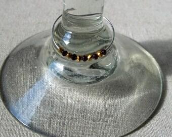 Purple, Gold Wine Glass Charm
