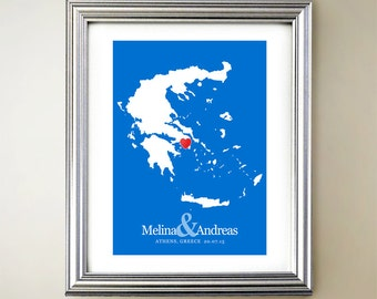 Greece Custom Vertical Heart Map Art - Personalized names, wedding gift, engagement, anniversary date