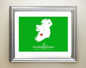Ireland Custom Horizontal Heart Map Art - Personalized names, wedding gift, engagement, anniversary date
