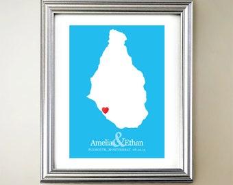 Montserrat Custom Vertical Heart Map Art - Personalized names, wedding gift, engagement, anniversary date