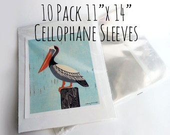 Set of 10 Cellophane Resealable Clear Sleeves, ~ 11 x 14 for 8 x 10, 9 x 12, 11 x 14 prints, clothing/ Protective Sleeves/ Archival Sleeves
