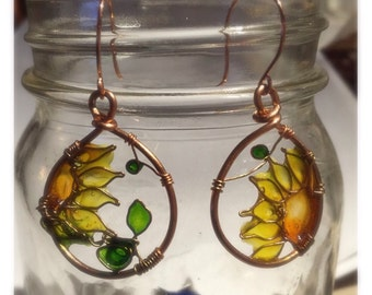 Sunflower Earrings-Wire Wrapped Copper Hoops with Resin, look of stained glass