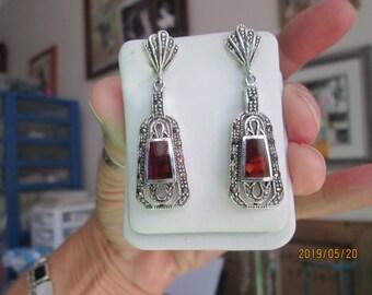 Vintage Art Deco 3.86ctw Genuine Red Obsidian & Marcasite Sterling Silver 925 Dangle Post Earrings, Wt. 10.6 Grams