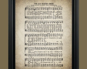 The Old Rugged Cross Hymn - Hymnal Sheet - Sheet Music- Home Decor - Inspirational Art - Gift - Instant Download - #HYMN-013