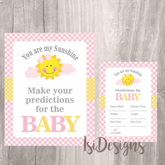 yellow sunshine baby shower predictions game cards and sign baby girl