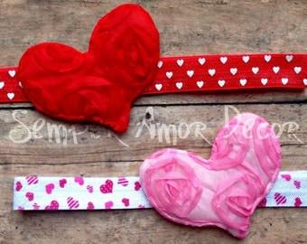 Valentine's Day Headband, Red Heart Headband, Pink Heart Headband, Valentine's Day Bow