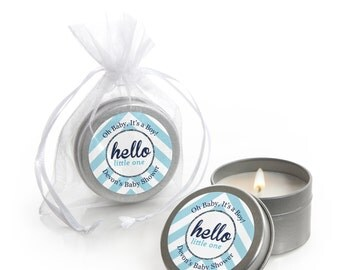 Hello Little One - Blue and Silver Candle Tin Boy Baby Shower Party Favors - 12 Count