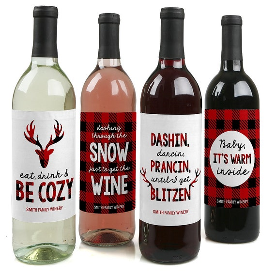Prancing Plaid Custom Holiday Wine Bottle Labels For