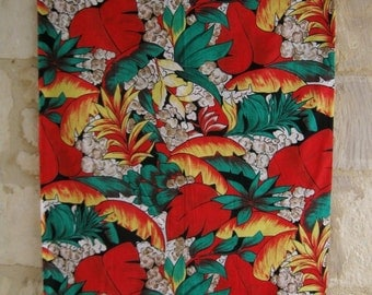 VINTAGE FRENCH FABRIC / Vintage / 50s / 60s / Mid century / Modern / Red / Green / White / Yellow  / Black / Vibrant / Home decor / Sewing