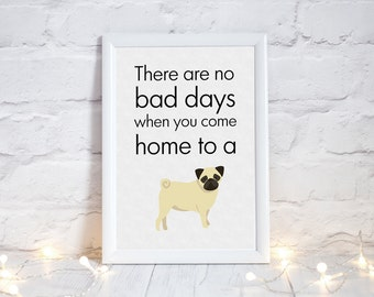 Pug owners!  Awesome Pugtastic Print, Cute Present for pug lovers, pug image, pug poster, pug gifts for he, puglife, PRINT ONLY