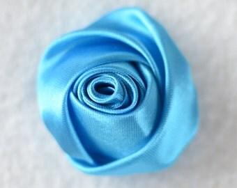 "2"" Satin Rose Flower Head, Wholesale Mini Rosettes for Flower Headbands - Lot of 1, 2, 5 or 10, Turquoise"