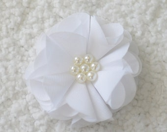 "2.5"" Chiffon Flower with Pearl, Wholesale Chiffon Flower Head for Flower Headband Baby, Embellishment, Lot of 1 or 2, White"