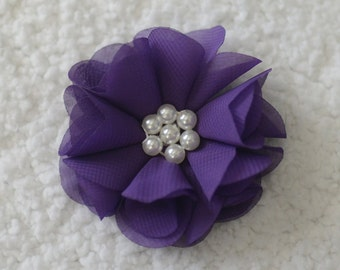 2.5 inch Pearl Chiffon Hair Flowers, Wholesale Flower Heads for Headbands, Embellishment, Lot of 1 or 2, Purple