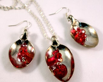 Vintage Silverware Spoon Necklace - Earrings  Set with Red Crystal Deatail-- Free Shipping