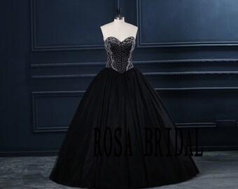 Black Prom ball gown, Handmade beaded Prom Dress Black  Custom size color
