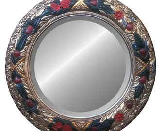 "Floral Round Mirror With Rose Carvings (34"")"