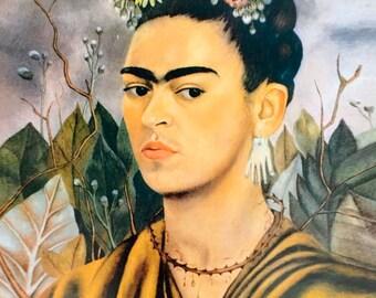 """Frida Kahlo 'Self Portrait,' 1940 Print (16X20) Only or Framed in 1"""" Black Wood Frame (16""""X20"""")"""