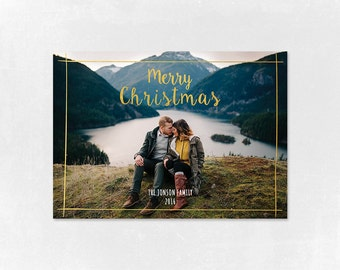 Digital Photoshop Christmas Card Template for photographers PSD Flat card - Christmas Card - PSD Template - 002-2