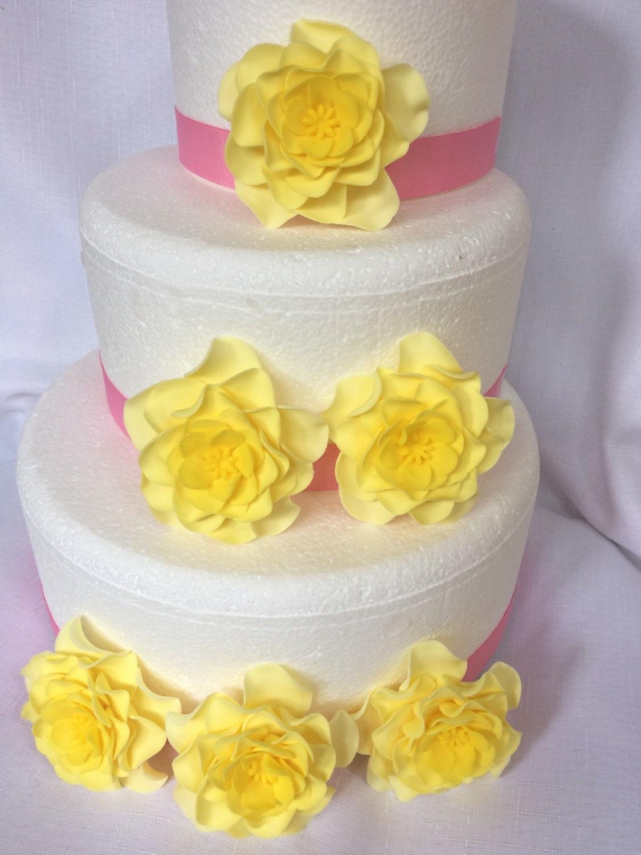 yellow wedding cake topper fondant flowers 6 large yellow Ombré ...