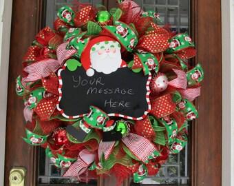 Santa Clause Chalkboard mesh Christmas wreath