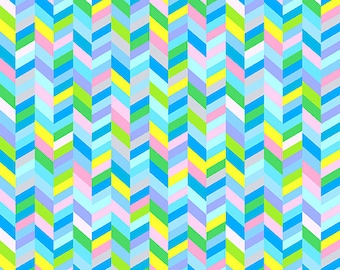 Max and Bunny- 7525-B - Chevron Braid Blues and Mulit Color- Andover- 1 Yard