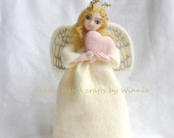 White Angel tree topper- handmade Needle felted wool Christmas decoration OOAK