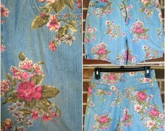 Flirty Floral Denim High Waisted Shorts, 6