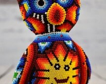 H315 Sweet Owl Huichol Mexican Folk Art Shipping From Mexico Peyote