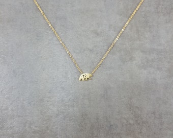 Grizzly Bear [GOLD] Plated Necklace Gift Box California State Kodiak Bear Animal