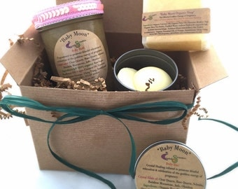 Baby Moon Bath and Body Gift Set, Pregnant Gift, Vegan Pregnancy, Organic Body Care Products, Expectant Mom Baby Shower Gift Baby Bump Belly