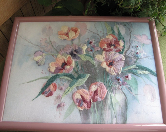 Barbara Mock Watercolor and Yarn Flowers Framed Picture Crewel Print