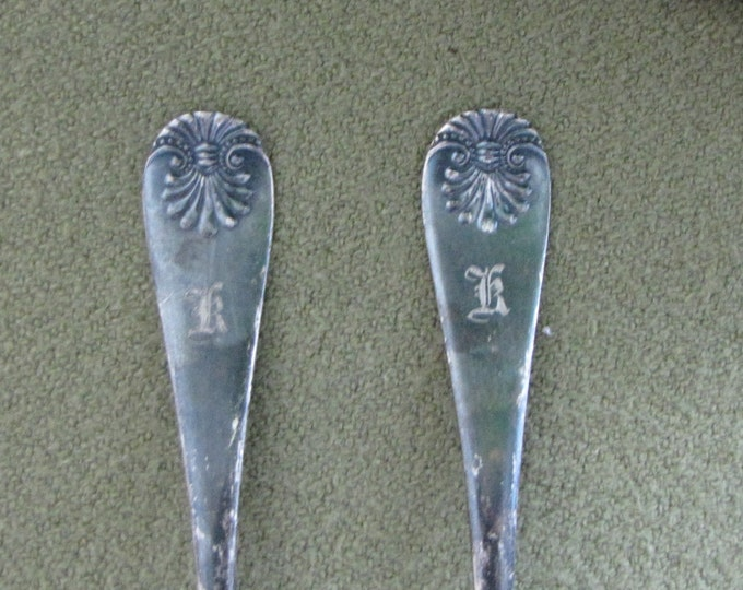 "Towle Mfg. Co. Silver Teaspoons Monogrammed Spoons 1889 Shell II Pattern Engraved ""K"" or ""R"" Silver Flatware"
