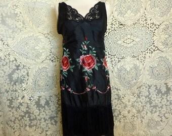 Black slip dress, red Asian embroidered roses, boho shabby chic