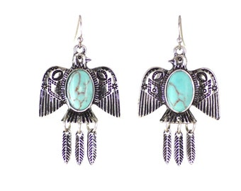 Boho  earrings, silver eagle totem earrings with blue stones and silver feather charms.